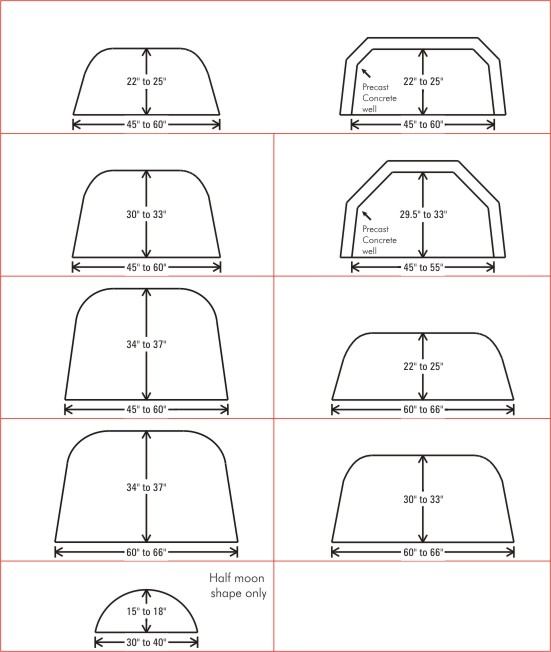 Window Well Cover size Chart